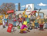 Illustratie voor uitnodiging abonneedag Vonk Brugge
