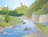 Illustratie van een Bergrivier