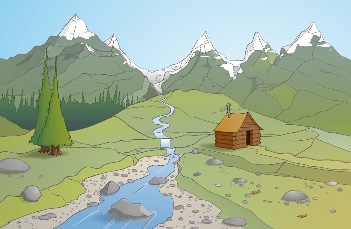 Educatieve illustratie; blokhut in de bergen