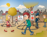 Cartoon; Afstand houden ten tijde van corona