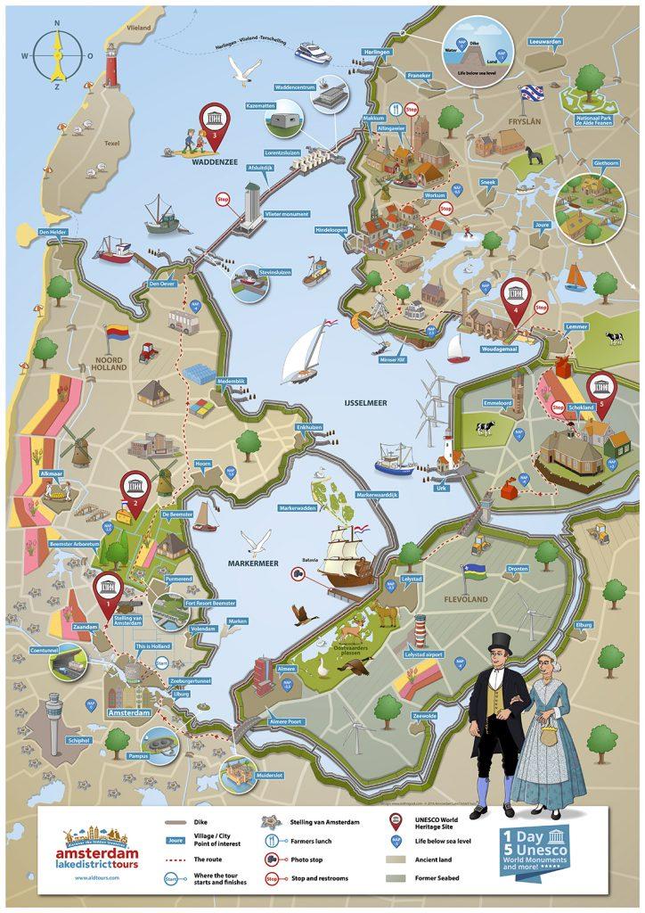 Geïllustreerde routekaart Amsterdam Lakedistrict tours