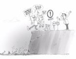 Cartoon; handen af van onze vrijheid