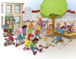 Illustratie; kinderen op het schoolplein