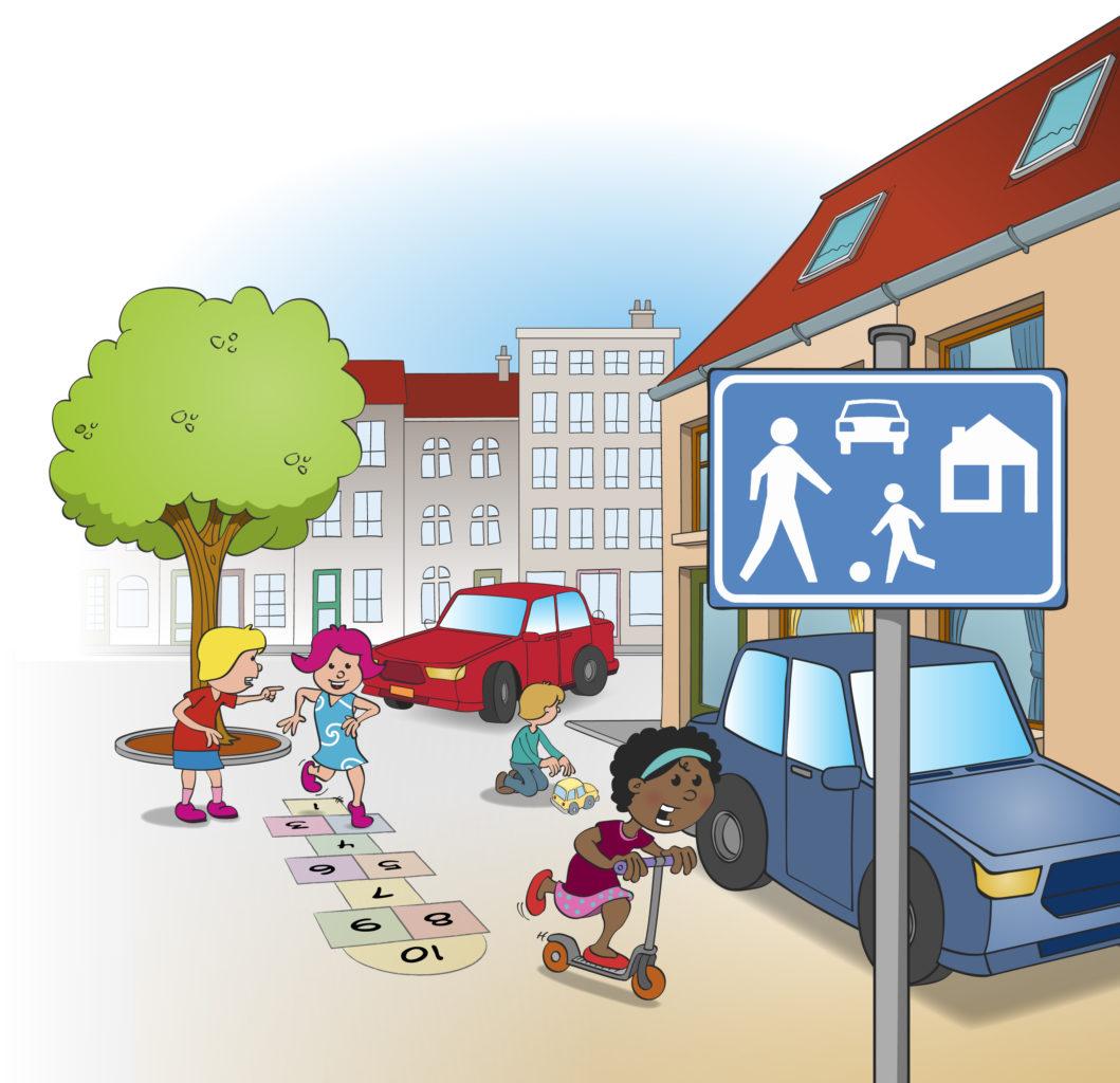 Illustratie; spelen op straat