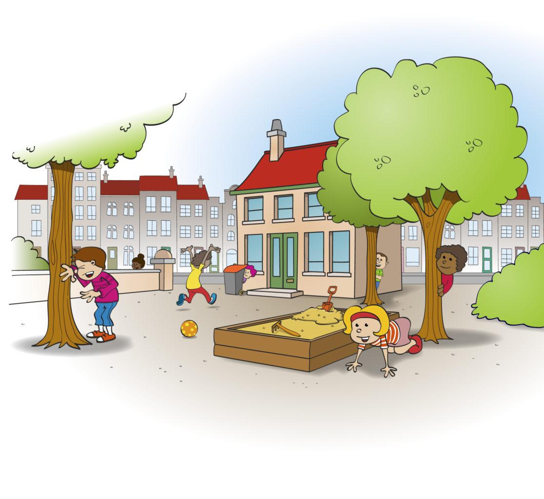 Illustratie; verstoppertje spelen op het speelplein