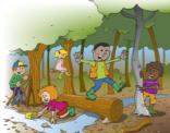 Illustratie; kinderen spelen in het bos