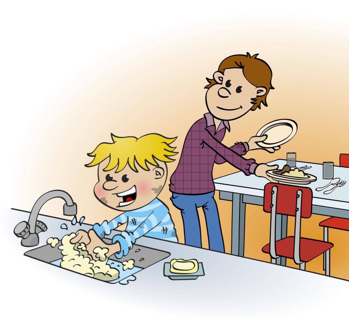 Illustratie; handen wassen na het spelen.