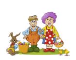 De mascotte van Sloebieland in paaskleding
