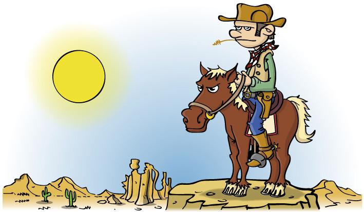 Illustratie voor kinderboek; cowboy op paard