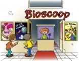 Illustratie voor lesboek; kinderen voor bioscoop