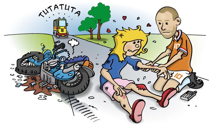 Illustratie voor kinderboek; van de scooter gevallen