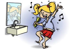 Illustratie voor lesboek; dansen voor de spiegel