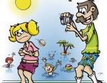 Illustratie voor lesboek; vader filmt dochter