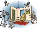 Illustratie voor lesboek; filmdecor