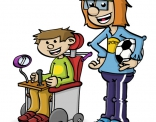 Illustratie; rolstoel en voetballer
