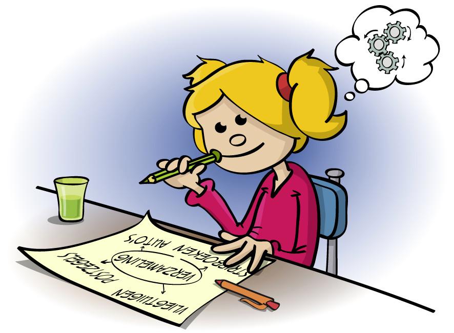 Illustratie voor lesboek; nadenken