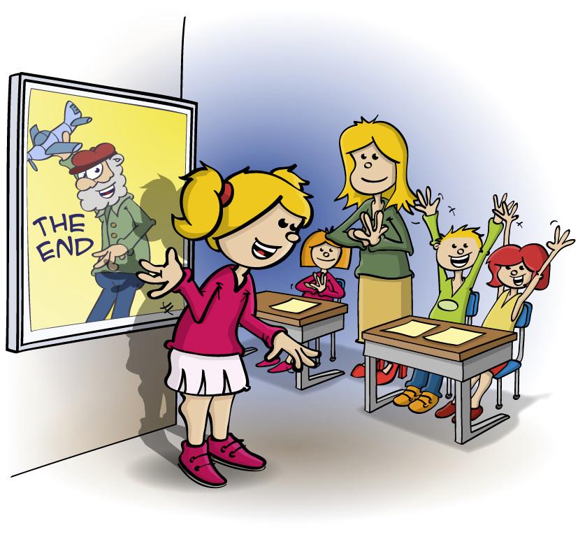 Illustratie voor lesboek; leinde van de presentatie