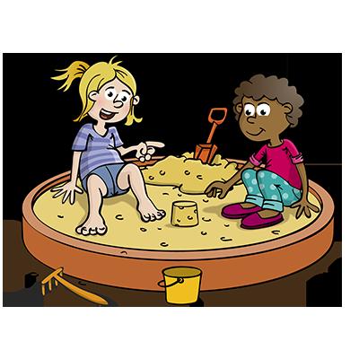 Kinderen in zandbak - educatieve illustratie voor de Taalkanjers reeks van uitgeverij Pantyn