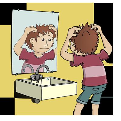 Jongen voor de spiegel - educatieve illustratie voor de Taalkanjers reeks van uitgeverij Pantyn