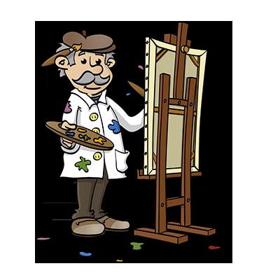 De schilder - educatieve illustratie voor de Taalkanjers reeks van uitgeverij Pantyn