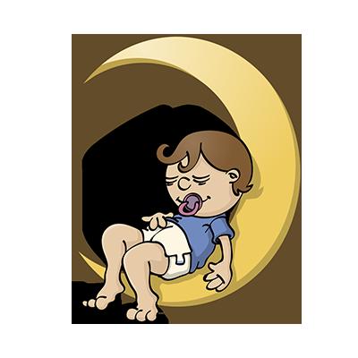 Mannetje maan - educatieve illustratie voor de Taalkanjers reeks van uitgeverij Pantyn
