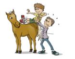 illustratie: van een man die een kind op het paard tilt