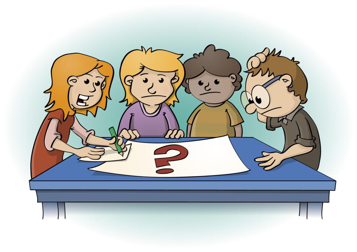 Educatieve illustratie voor de wiskanjers; kinderen aan tafel zoeken oplossing.