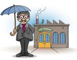 Educatieve illustratie; de directeur van de paraplu fabriek