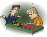 Educatieve illustratie voor de wiskanjers; aan de roulettetafel