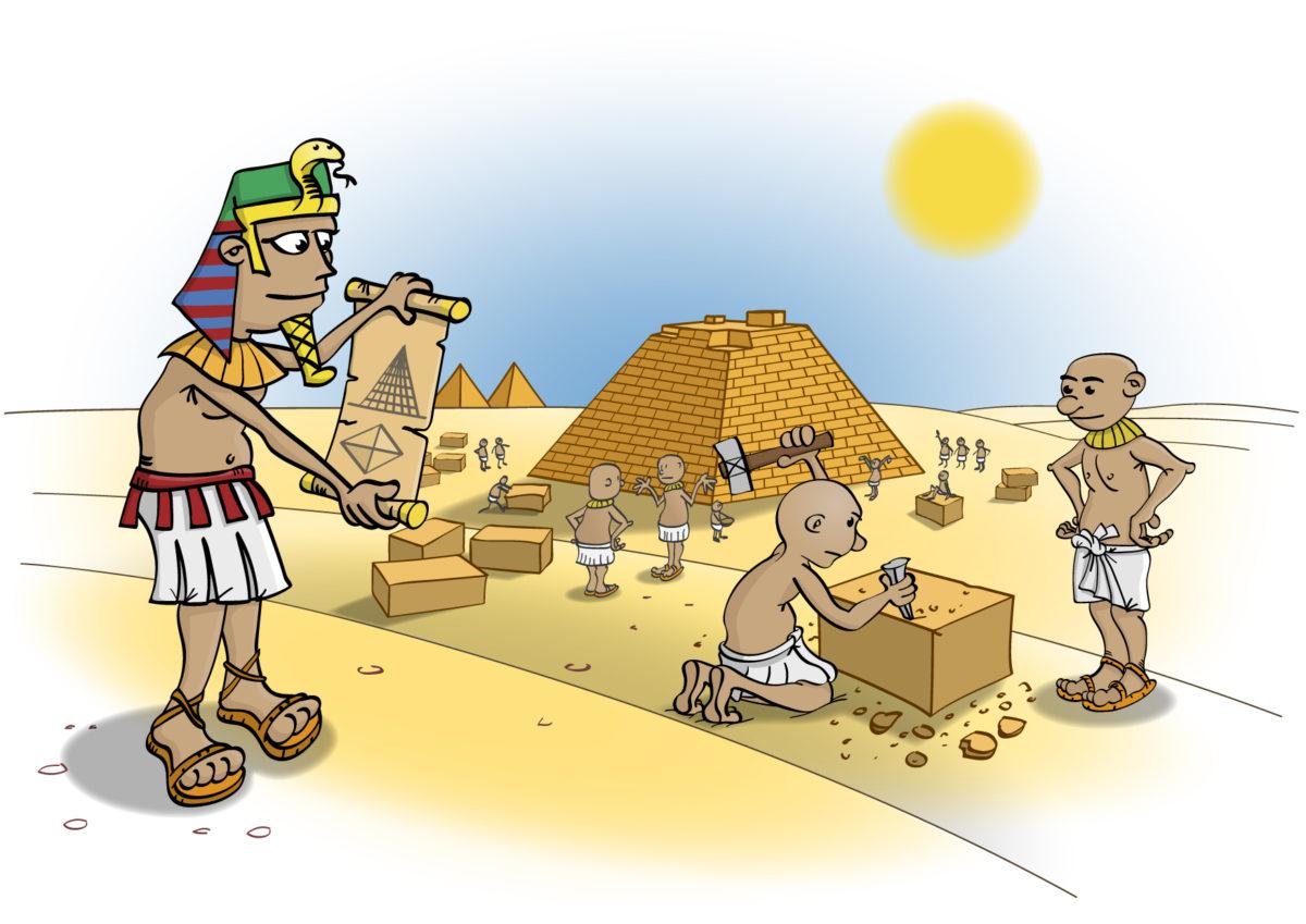 Illustratie voor de wiskanjers; bouwen in Egypte