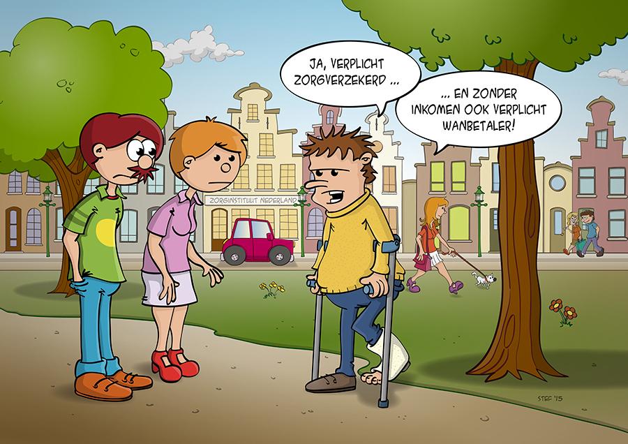 Cartoon; de wanbetaler die verplicht zorgverzekeraars is.