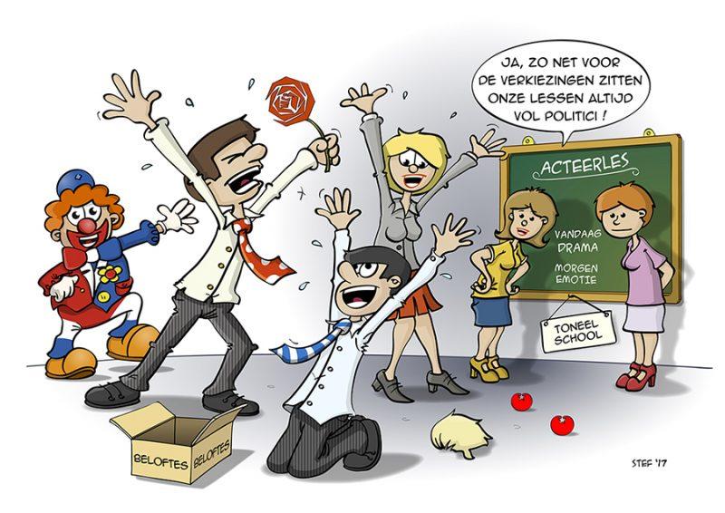 Cartoon; acteerlessen zitten vol politici net voor de verkiezingen