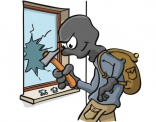 Illustratie van inbreker die raam stukslaat.