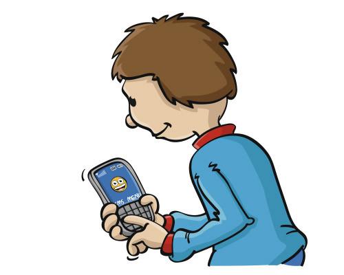 Illustratie van jongen met mobiele telefoon