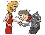 Illustratie van man die een vrouw een handjes geeft