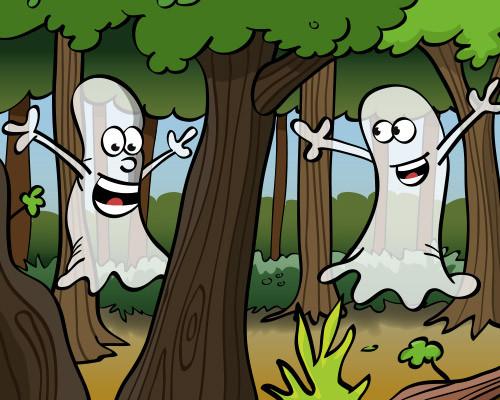 Illustratie van spoken in het bos