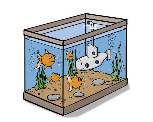 Illustratie van een aquarium met vissen en een onderzeeër