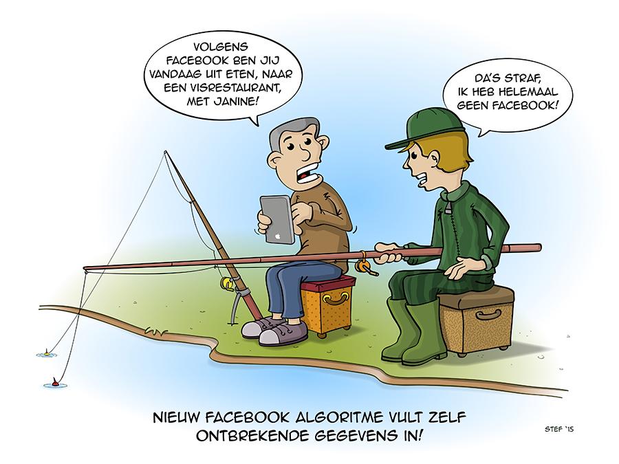 Cartoon; nieuw facebook algoritme vult zelf ontbrekende gegevens in.
