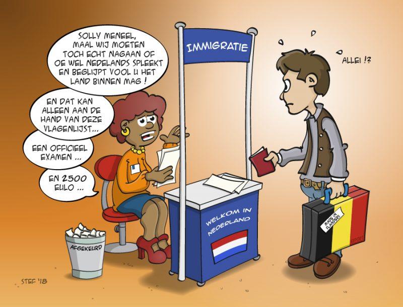 Cartoon; Als Belg immigreren in Nederland