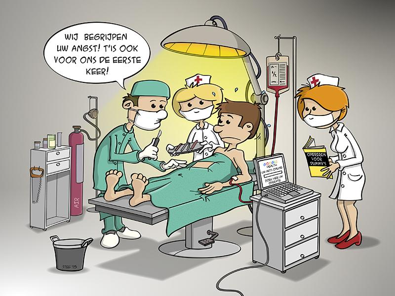 cartoon: er is voor alles een eerste keer.