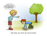 Cartoon; Een appel valt nooit ver van de boom