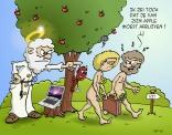 Cartoon; Van Zijn apple moet je afblijven!