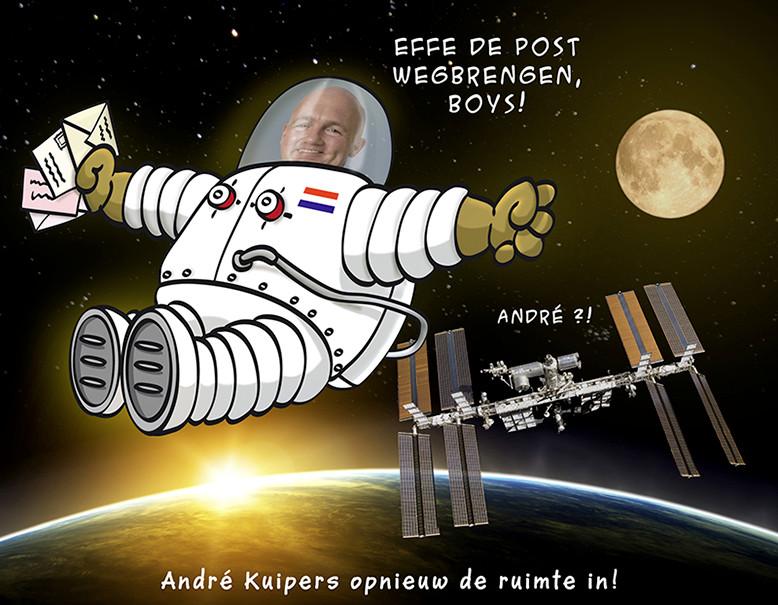 Andre Kuipers opnieuw de ruimte in.