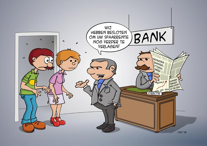 Cartoon; De spaarrente daalt en de bonussen stijgen.