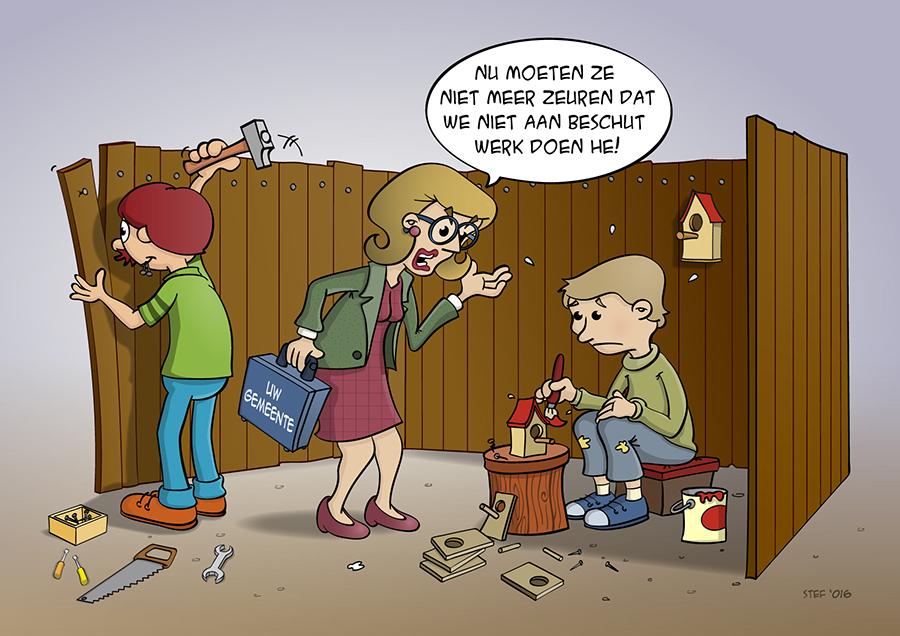 Cartoon over beschut werken