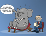 cartoon; Olifant bij de psychiater
