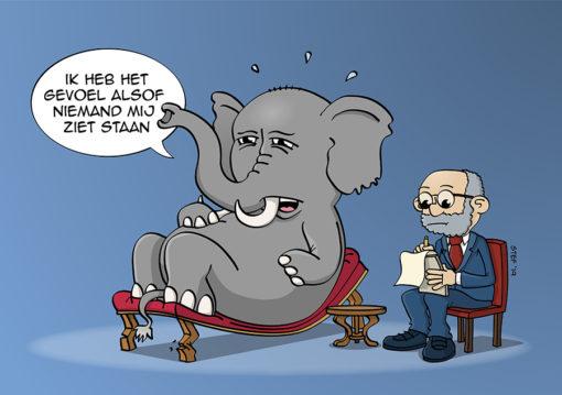 Komt een olifant bij de psychiater
