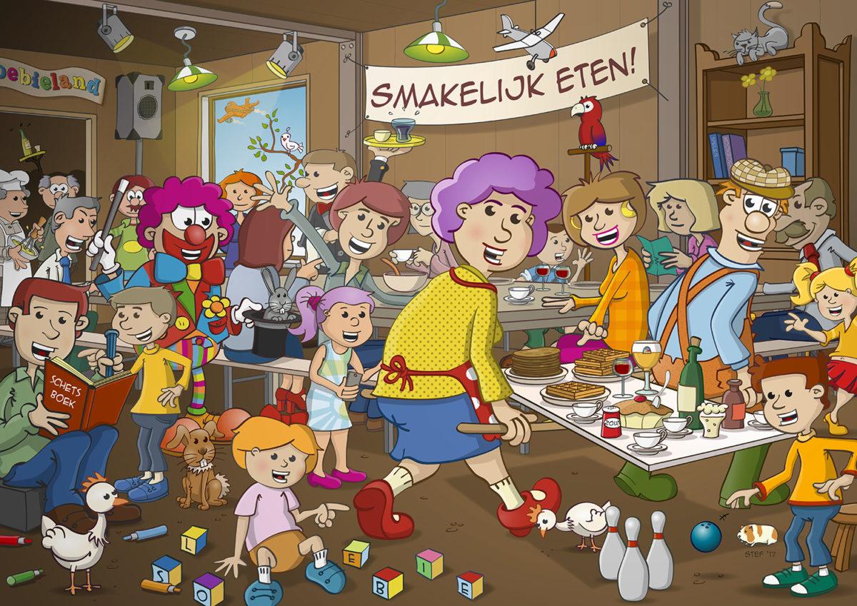 Zoekplaat; breugelillustratie in opdracht van kinderspeeltuin Sloebieland