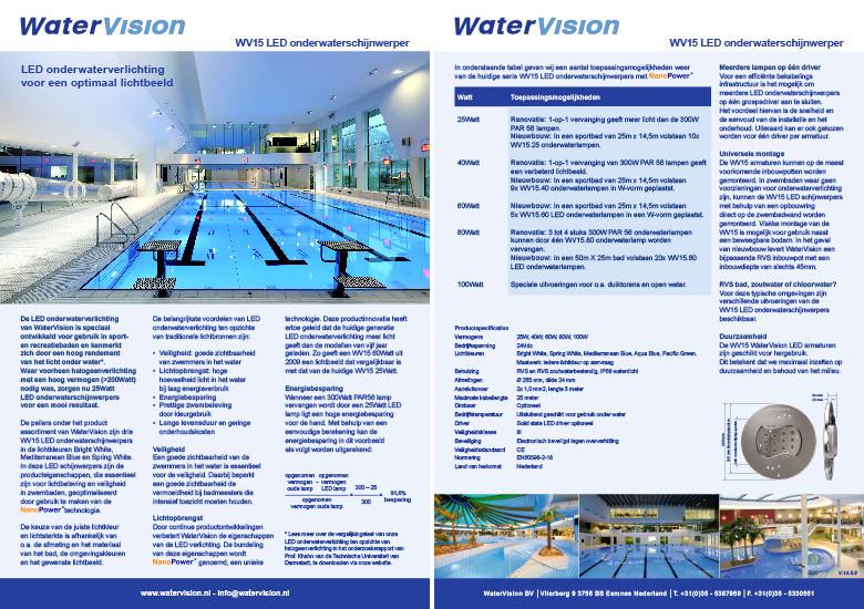 Dubbelzijdige A4 productfolder voor Watervision