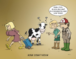 Cartoon Boer zoekt vrouw; De concurrentiestrijd werd haar teveel!